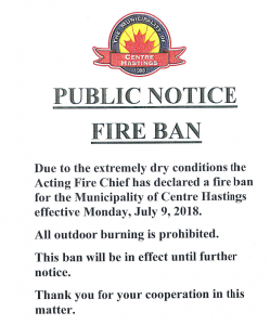 fire Ban notice